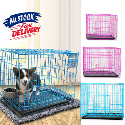 Foldable Dog Puppy Cat Pet Portable Metal Crate Tray Cage Kennel Collapsible