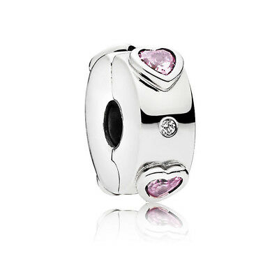Authentic S925 Sterling Silver Explosion of Love Clip Charm Pink CZ Bead W/Pouch