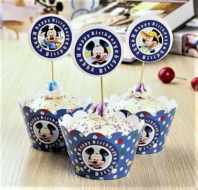 Mickey Mouse Happy Birthday Cupcake Wrapper Set (12 Pack)