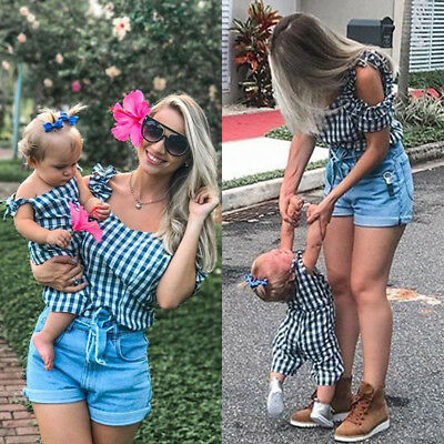 US Mother & Daughter Matched Plaid Women Blouse Tops Kid Baby Tops Pants Clothes