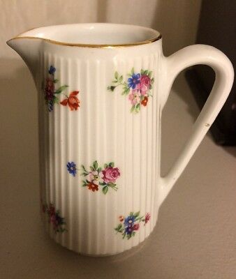 """Vintage White Ribbed China Creamer Picture Floral Gold Trim 4 1/2"""" Tall"""