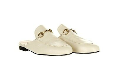 d87159b83a2 Gucci Princetown Womens White Leather Slides Flats Loafers  695 Size 37 New