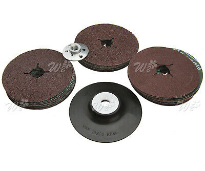 Rubber Backing Pad 115mm for Angle Grinder + 30 Fibre Sanding Discs