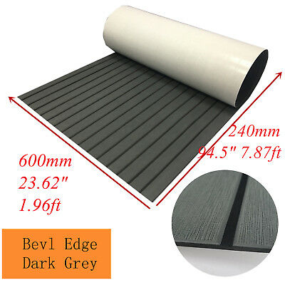 "95""×23.6"" Marine Teak Decking Sheet For Boat Yacht Flooring Mat Bevel Dark Grey"