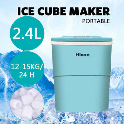 Portable 15KG Ice Cube Maker Machine Counter Top 2.4L Benchtop Stainless Steel