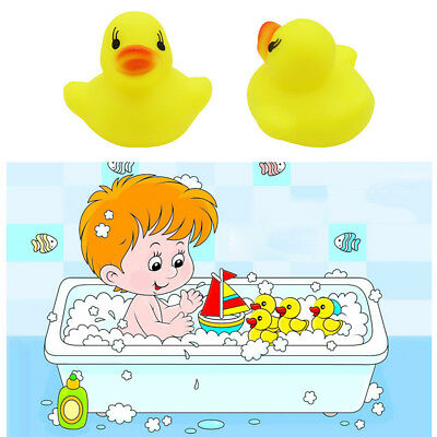 10 Small Bright Yellow Ducks Baby Bath Toy Squeez Squeaky Duck Floating Duckies