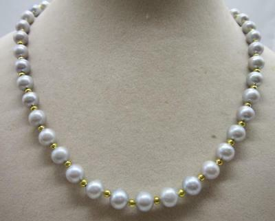 "beautiful AAA 9-10mm natural south sea gray pearl necklace 18"" white flower cl @"