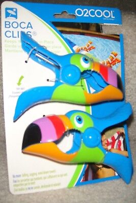 """1-Set Of Boca Chair Clips """"toucan Sam"""" New On Card!  Perfect For Cruises!"""