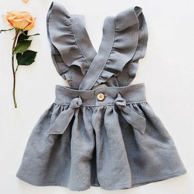 Summer Toddler Baby Girls 0-24 Solid Cross Strap Casual Party Dress Sundress