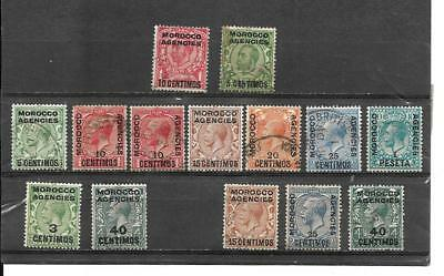 Great Britain Off In Morocco Stamps Between Sct#49/66 Mh/canc. Cat Val $44.80