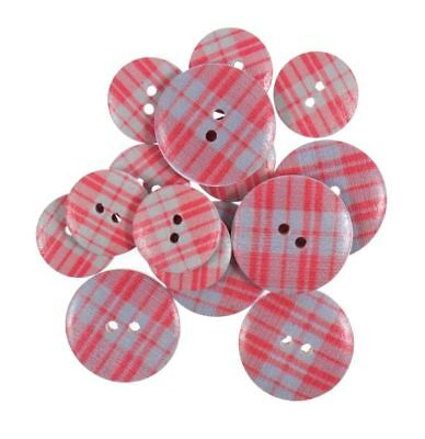 Red & Grey Check Tartan Wooden Craft Buttons Pack of 15 Two Sizes - 068