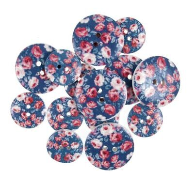 Red & Blue Vintage Roses Wooden Craft Buttons Pack of 15 Two Sizes - 032
