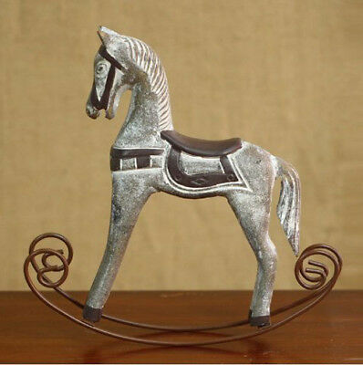 Retro Wood Rocking Horse Figurine Sculpture Home Decor Ornament Kids Toys Gift