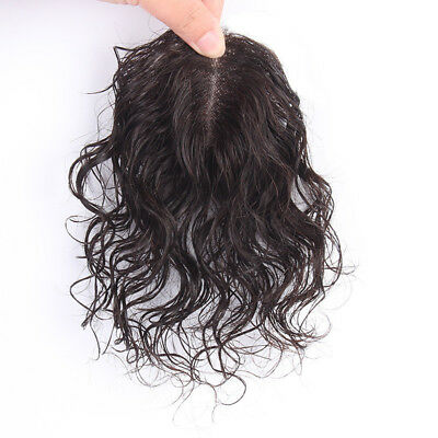 Hand-made Mono Curly Hairpieces Clip In 100% Human Hair Topper Toupee For Women