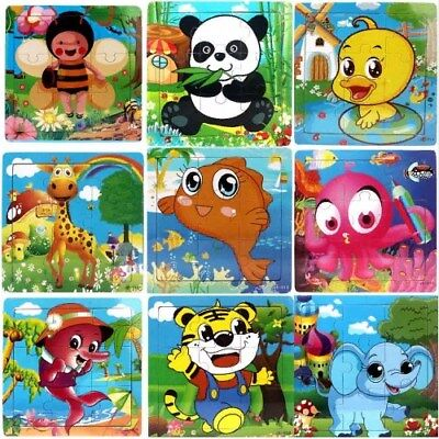 Wooden Puzzle Toy Educational Developmental Baby Kids Training Funny Animal
