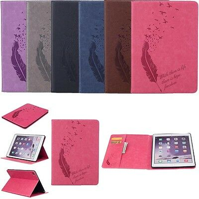 For iPad Samsung Galaxy Bird Feather Leather Stand Flip Case Tablet Cover Wallet