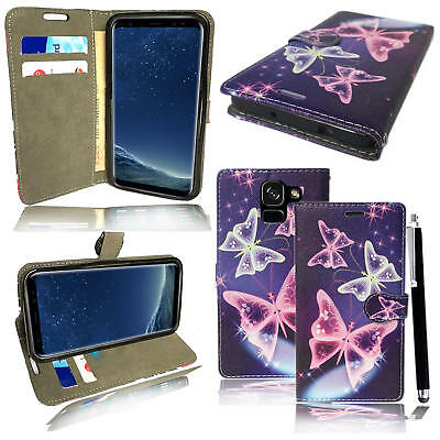 For Samsung Galaxy A8 / A8 +  2018 Genuine Black Leather Wallet Phone Cover Case