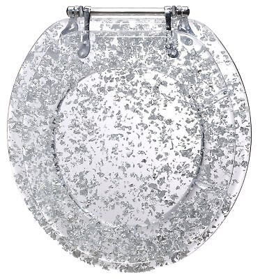 Phenomenal Silver Foil Resin Acrylic Toilet Seat Standard Round With Caraccident5 Cool Chair Designs And Ideas Caraccident5Info