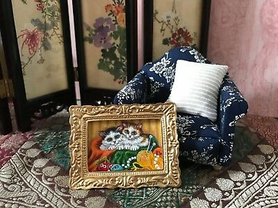Dollhouse Miniature painting Original Cats kittens art basket yarn toy OOAK 1:12