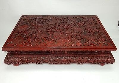 """Antique Chinese Export intricately carved Cinnabar kang table circa 1900,  27"""""""