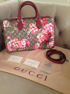 a0fdd72ba59 GUCCI BLOOMS FLORAL Gg Supreme Top Handle Canvas