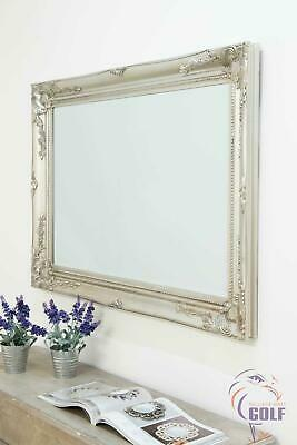 Silver Large Ornate Style Wall Mounted Mirror 3Ft8 X 2Ft8 (110cm X 79cm)