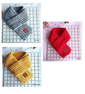 Fashionable Kids Knitted Winter Scarf / Neck Warmer (Grey/ Red/ Yellow) Unisex