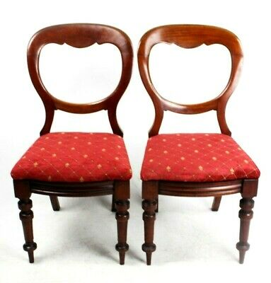 A Pair of Antique Walnut Balloon Back Chairs - FREE Shipping [PL4497]