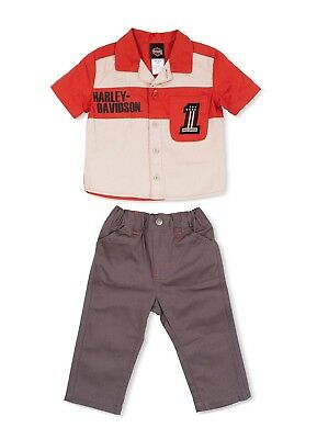 Harley Davidson Infant & Baby Suit. Denim Trousers And An Orange/White Shirt