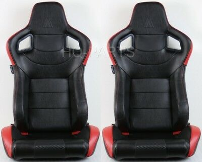 2 Tanaka Universal Black & Red Pvc Leather Racing Seat Dual Recliner Back Pocket