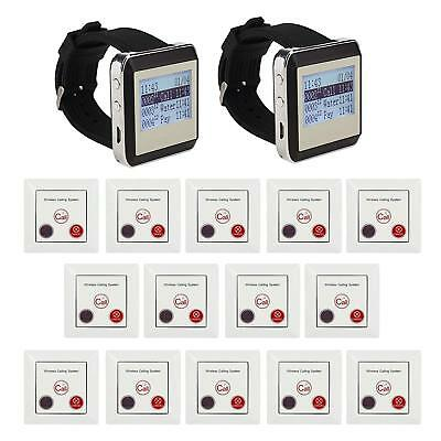 Wireless Pager Calling System  for Restaurant  2  Receiver + 14 pcs Call buttons