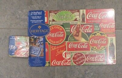 Set of 2 Coca Cola Hardboard Table Mats, Matching Coasters (6), Coke advertising