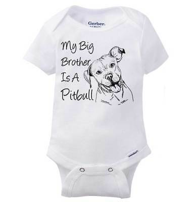 ee60753f3 Big Brother Is A Pitbull Funny Dog Lover Shower Gift Idea Baby Gerber Onesie