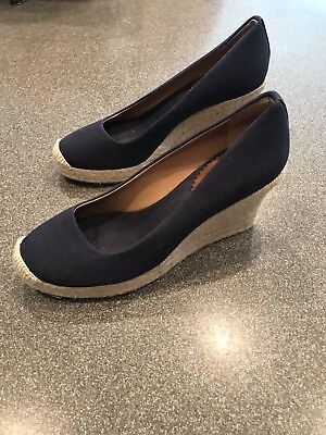 7e8c81097f02 J Crew Seville Espadrille Wedges Womens Size 8.5 Navy Blue Tan Jute Canvas  Heels