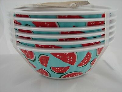 """Set of 6 Nicole Miller Home 6"""" Melamine Small Bowls - Watermelon Hearts - NEW"""