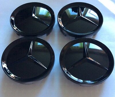4x Black Gloss Alloy Wheel Centre Caps For Mercedes Benz Badge Emblem 65mm Shiny