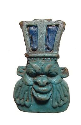 Egyptian  faience amulet of the god Bes 1075 - 664 BC
