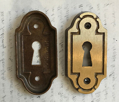 PAIR Vintage Solid Brass ESCUTCHEONS Architectural Key Hole Plate Findings