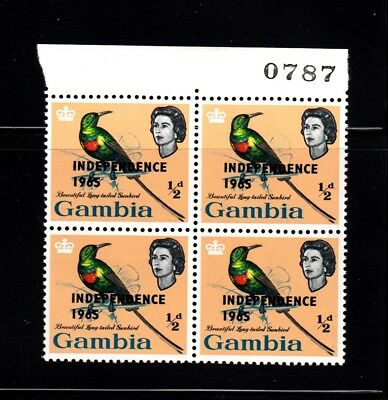 1965 Queen, Sunbird - MNH OVPT with Number Block of 4 Sc 193, Gambia Collector