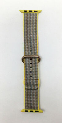 Apple Watch Woven Nylon Band 38mm Yellow/Light Gray with Rose Gold Buckle - VG