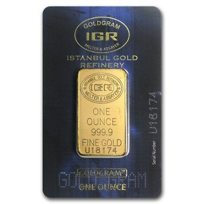 SPECIAL PRICE! 1 oz Gold Bar - Istanbul Gold Refinery (In Assay) - SKU #170490
