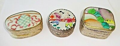 3x Chinese Silver & Enameled Pottery Shard Boxes w. Floral & Figure Motifs (Wok)