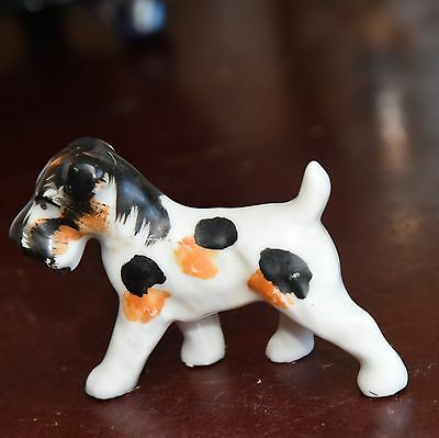 "Vintage Terrier Dog Figurine Japan Hand Painted Black White  3"" L Porcelain"