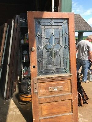 AN 467 antique beveled textured glass entrance door 32 x 79.25