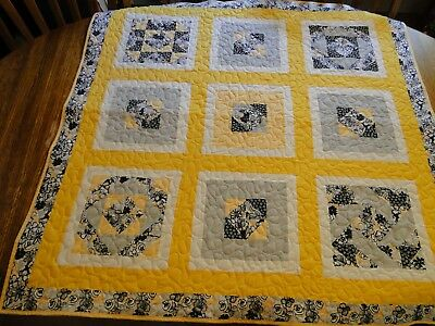 "Handmade Yellow Quilt, Machine Quilted, 42"" x 42"" Child, Youth, Toddler, Blanket"