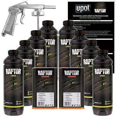 U-POL Raptor Black Urethane Spray-On Truck Bed Liner Kit w/ FREE Spray Gun 8L