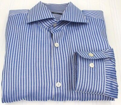 1fb67c9ab HUGO BOSS 17 - 34 35 Sharp Fit Blue Candy Stripe Pinstripe Button Down L/