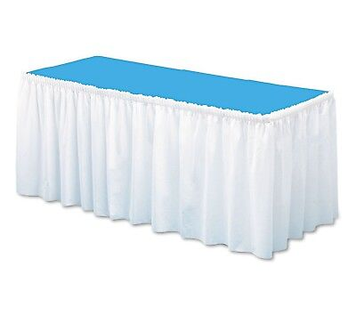 "ccTable-Set-Linen-Like-Soft-Non-Woven-Polyester-Table-Skirting-White(29"" x 14')"