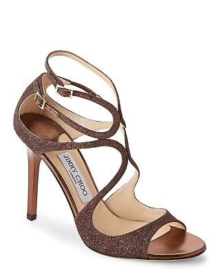 cacc74415a New In Box Jimmy Choo Lang Bronze Glittered Strappy Sandals Size 37/7  $895.00