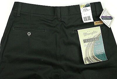 57538698 NEW Wrangler Riata Men's Pleated Front Relaxed Fit Casual Pants Black 32x32